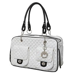 MG Collection White Quilted Designer Inspired Faux Patent Le