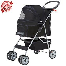 NEW 4 Wheels Pet Stroller Cat Dog Cage Stroller Travel Foldi