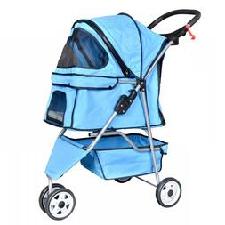 New Blue Pet Stroller Cat Dog Cage 3 Wheels Stroller Travel