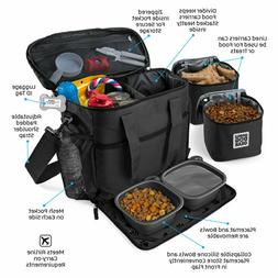 NEW DOG Travel Bag w/ 2 Food Carriers, 2 Collapsible Bowls &