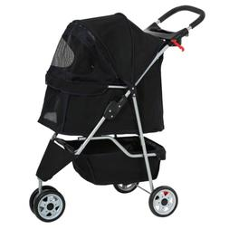 BestPet New Pet Stroller Cat Dog Cage 3 Wheels Stroller Trav