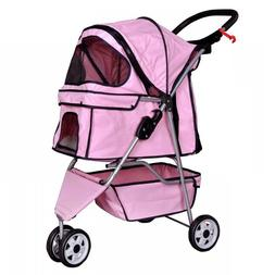 New Pink Pet Stroller Cat Dog Cage 3 Wheels Stroller Travel