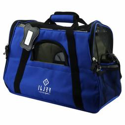Pet Carrier Cat Dog Airline Approved Fleece Bag Medium Blue