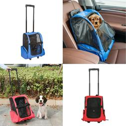 Pet Carrier Dog Cat Rolling Wheel Luggage Travel Airline Bac