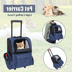 Pet Carrier Dog Cat Rolling Backpack Travel Luggage Bag Airl