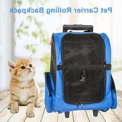 Pet Carrier Dog Cat Travel Tote Rolling Backpack Airline Cra