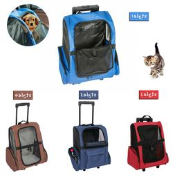 Pet Carrier Rolling Backpack Portable Travel Luggage Bag wit