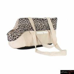 Pet Carrier Soft Sided Cat / Dog Comfort Leopard Dot Ivory B
