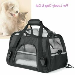 Pet Carrier Soft Sided Large Cat Dog Comfort Black Travel Ba
