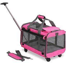 KOPEKS Pet Carrier with Detachable Wheels for Small and Medi