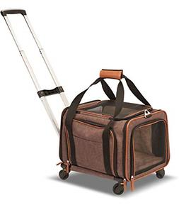 Pet Carrier with Wheels for Cats Dogs Small Animals Spacious