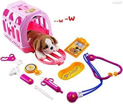 WolVol Pet Doctor Vet Kit Clinic Play Set for Kids, with Sou