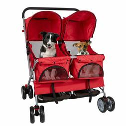 Pet Double Stroller for Small Dogs Cats 3 Wheel Jogger Carri