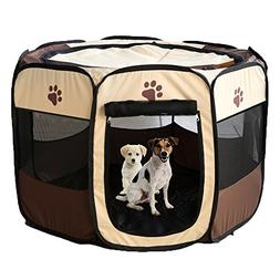Pet Foldable Playpen Oxford Cloth Exercise Portable Kennel I