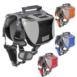 PAWABOO Pet Saddle Bag Harness Carrier Camping Hiking Travel