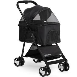 Pet Stroller 2-In-1 Detachable Carrier Dog Cat 4 Wheel Folda