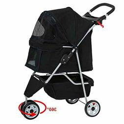 Pet Stroller 3 Wheels Cat Dog Cage Folding Carrier Travel Wa