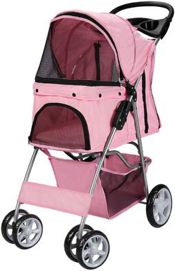 Pet Stroller Cat Dog 4 Wheeler Stroller Travel Folding Carri