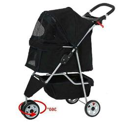 Pet Stroller Cat Dog Cage 3 Wheels Stroller Travel Folding C