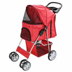 Pet Stroller for Cat Dog 4 Wheel Walk Stroller Travel Foldin