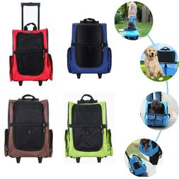 Pet Dog Cat Travel Carrier Backpack  Rolling Wheel Luggage B