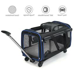 Pet Wheels Carrier Soft Sided Travel Rolling Carrier For Sma