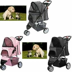 Pets Stroller Dogs Cats 3 Wheel Jogger Travel Folding Carrie