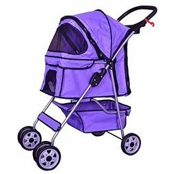 Pink 4 Wheels Pet Stroller Cat Dog Cage Stroller Travel Fold