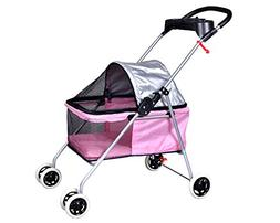BestPet New Pink Posh Pet Stroller Dogs Cats w/Cup Holder