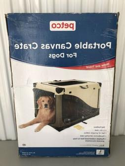 """Portable Canvas Crate For Dog Home & Travel Carrier Cage 36"""""""