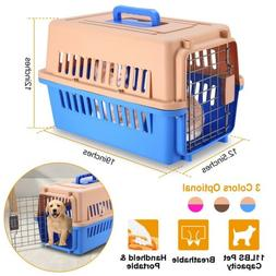 Portable Cat Dog Kennel Carrier Cage with Steel Door Crate P