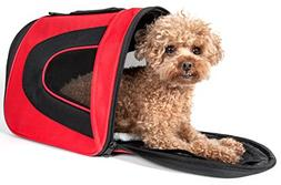 Pet Life Red and Black Sporty Mesh Pet Carrier MD