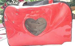 RED DOG CARRIER, HEART WINDOW OPENING, MAN MADE PATENT LEATH