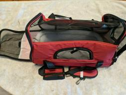 Red pet carrier for medium to small dogs comfortably. Lightw
