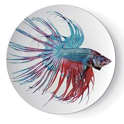 "6"" Round Aquarium Ceramic Decorative Plate Fantastic Betta F"
