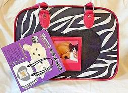 Small Dog Cat Soft Carrier Zebra Print Pink Airline Friendly