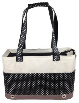 PET LIFE Fashion Designer Tote Spotted Folding Pet Dog Carri