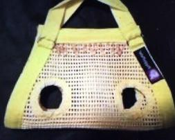 YELLOW open weave small dog carrier harness sling puppy purs
