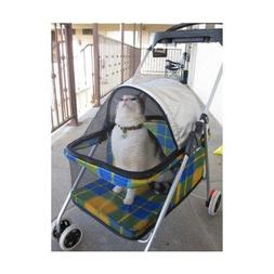 BestPet New Yellow Plaid Posh Pet Stroller Dogs Cats w/Cup H