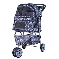 BestPet New Zebra 3 Wheels Pet Dog Cat Stroller w/RainCover